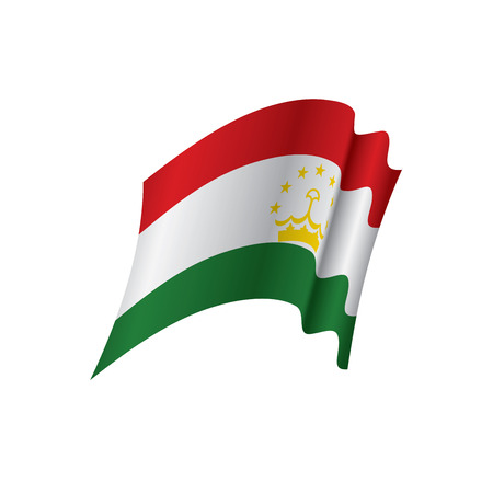 Tajikistan flag, waving illustration in white background.