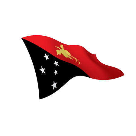 Papua New Guinea flag waving illustration in white background. Stock Vector - 95653840