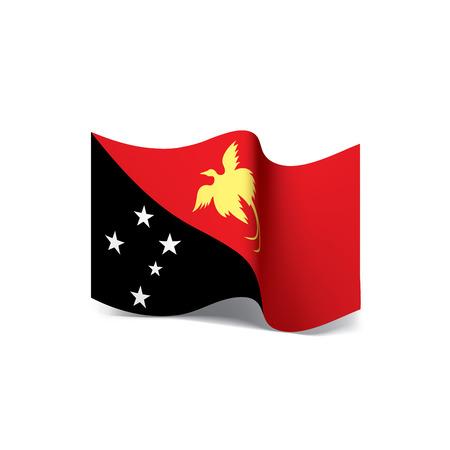 Papua New Guinea flag, waving illustration in white background.