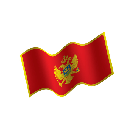 Montenegro flag, waving illustration in white background.  イラスト・ベクター素材