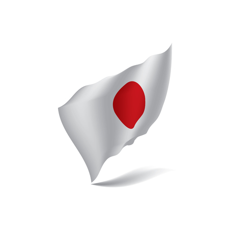 Japan flag, waving illustration in white background.