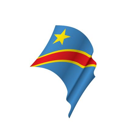 Democratic Republic of the Congo flag waving illustration in white background.