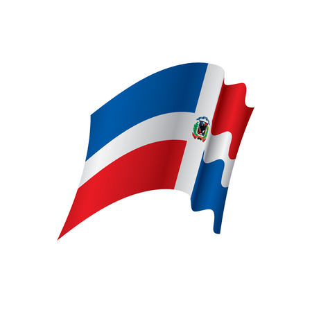 Dominican flag, vector illustration on white background.
