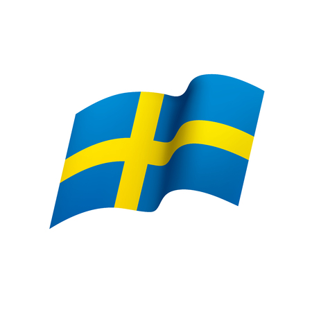 Sweden flag, vector illustration on white background.