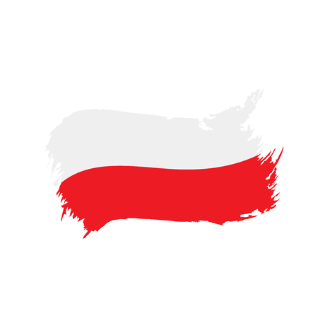 Poland flag, vector illustration on a white background 免版税图像 - 96220171