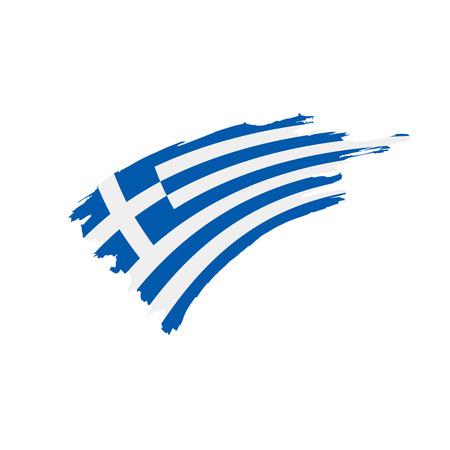 ギリシャの旗、白い背景にベクトルのイラスト