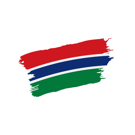 Gambia flag on white background, vector illustration. Illustration