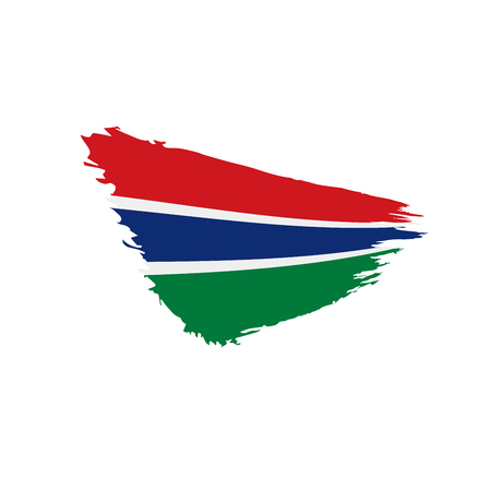 Gambia flag on white background, vector illustration. Illustration