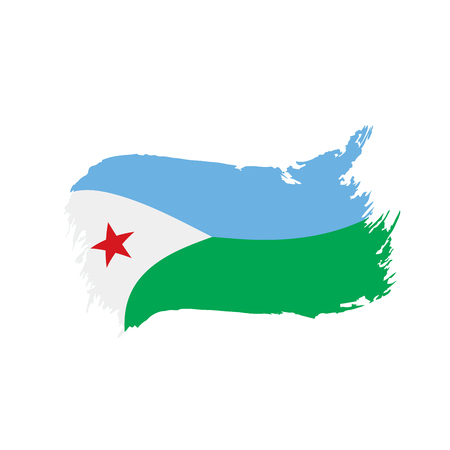 Djibouti flag on white background, vector illustration.