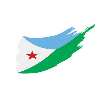 Djibouti flag on white background, vector illustration.