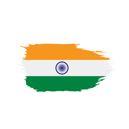 India flag, vector illustration on a white background Ilustracja
