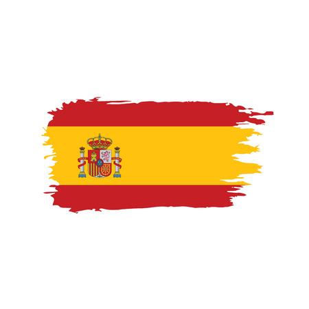 Spain flag on white background, vector illustration.
