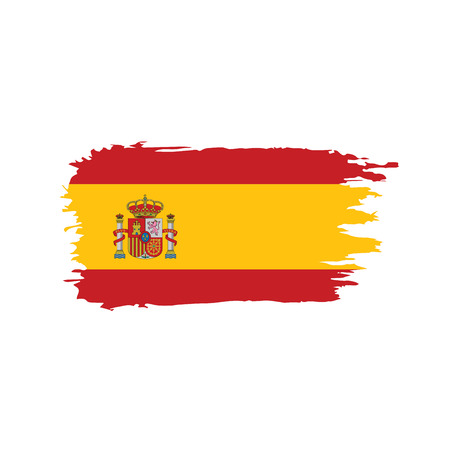 Spain flag on white background, vector illustration.