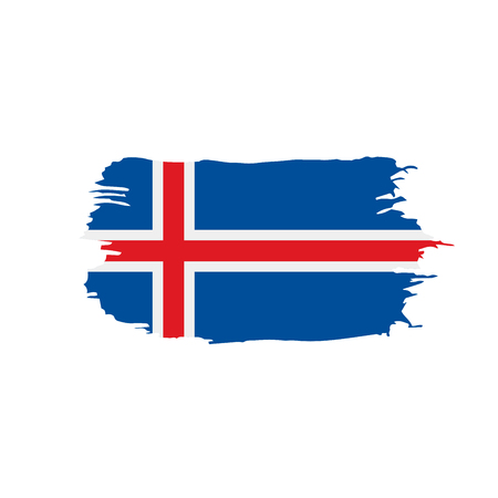Iceland flag, in a grunge paint stroke style vector illustration