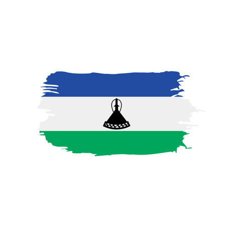 Lesotho flag on white background, vector illustration.