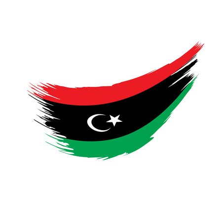 Libya flag on white background, vector illustration. 일러스트