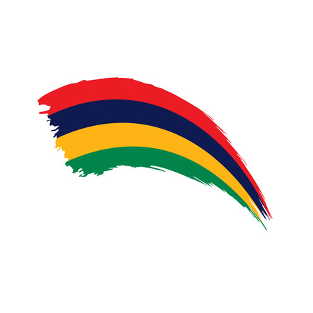 Mauritius flag on white background, vector illustration. Illustration