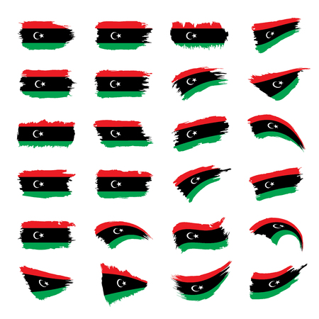 Libya flag, vector illustration isolated on plain background.