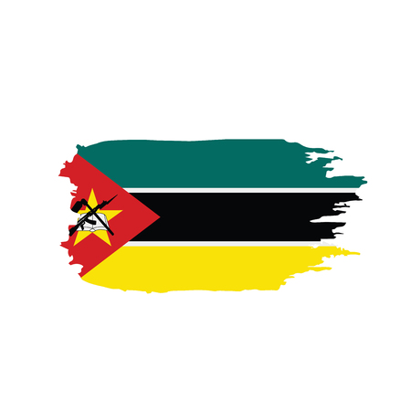 Mozambique flag on white background, vector illustration. 矢量图像