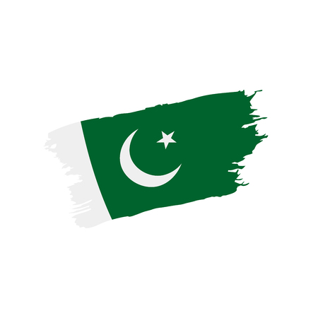 A Pakistan flag, vector illustration on a white background Banco de Imagens - 96853398