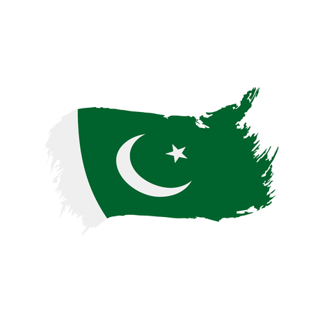 A Pakistan flag, vector illustration on a white background