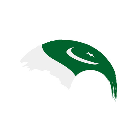 Pakistan flag on white background, vector illustration.