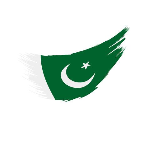 Pakistan flag on white background, vector illustration. Banco de Imagens - 96905973