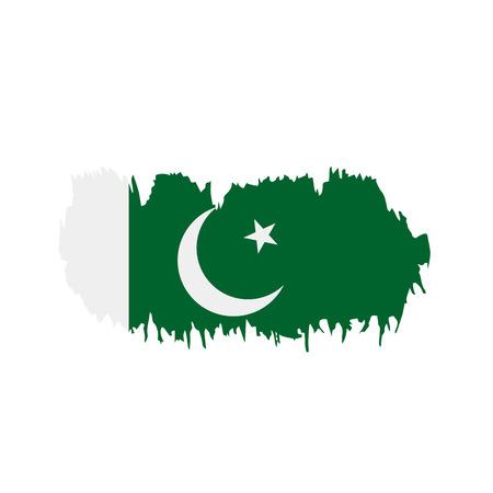 Pakistan flag on white background, vector illustration.