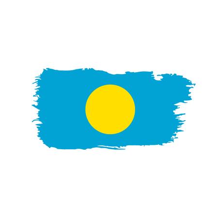 Palau flag on white background, vector illustration. Illustration