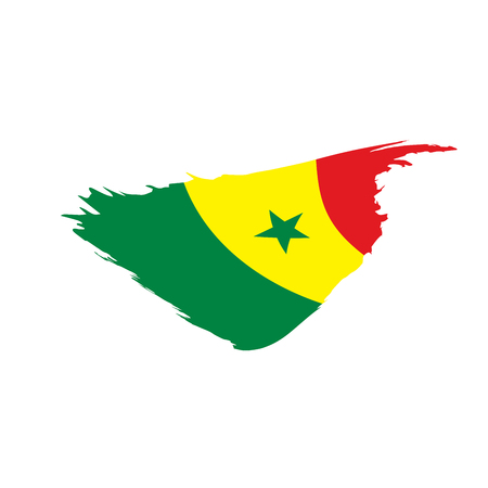 Senegal flag, vector illustration on a white background Vettoriali