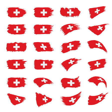 스위스 국기, 흰색 배경에 벡터 일러스트 레이 션 스톡 콘텐츠 - 96982436