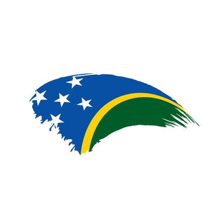 Solomon Islands flag on white background, vector illustration.