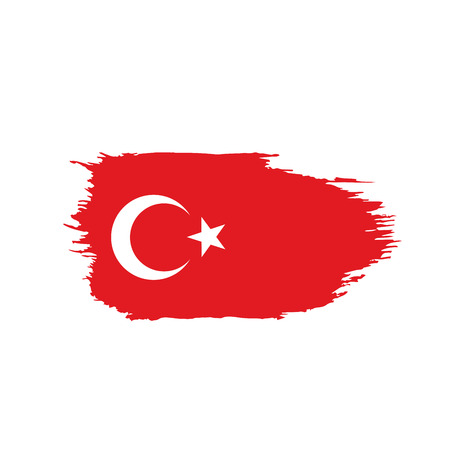 Turkey flag, vector illustration on a white background Vettoriali