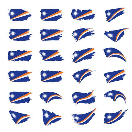 Marshall islands flag on white background, vector illustration. Illustration