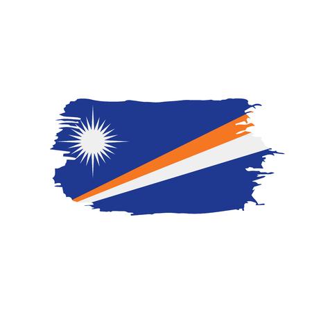 Marshall Islands flag on white background, vector illustration.