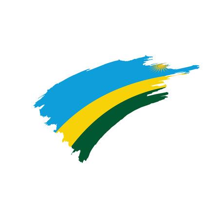 Rwanda flag on white background, vector illustration.