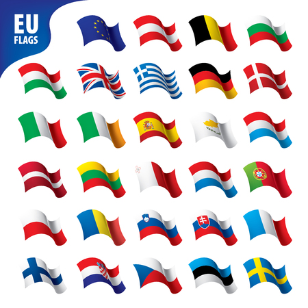 flags of the european union Vector illustration.