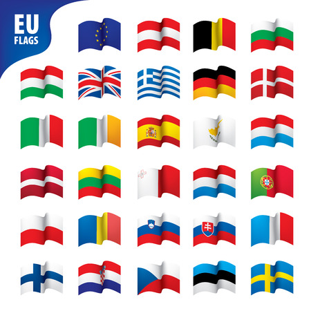 flags of the european union Ilustracja