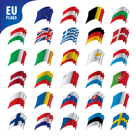 Flags of the european union isolated on plain background.