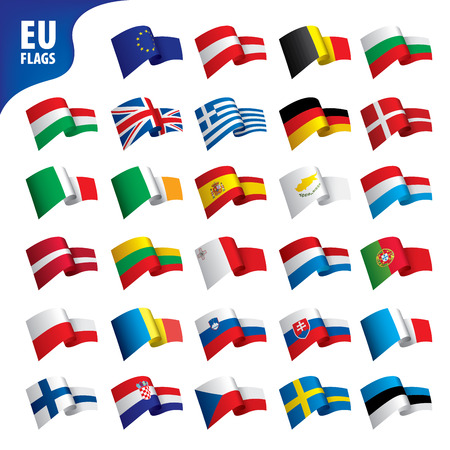 flags of the european union template vector illustration set Illusztráció