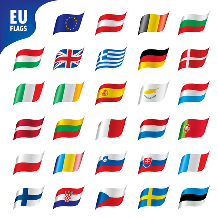 flags of the european union template vector illustration set Çizim
