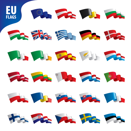 flags of the european union template vector illustration set Vettoriali