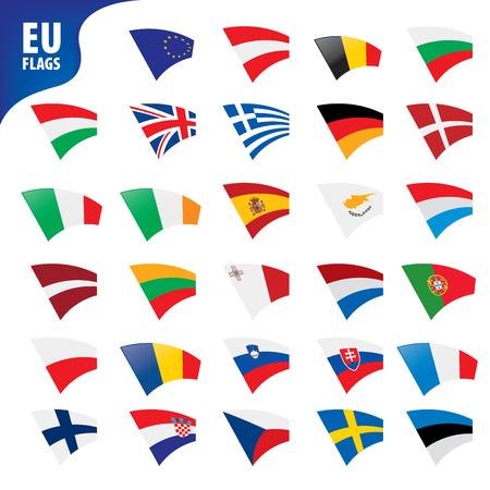flags of the european union template vector illustration set Stock Illustratie
