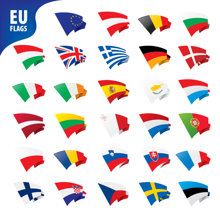 flags of the european union template vector illustration set