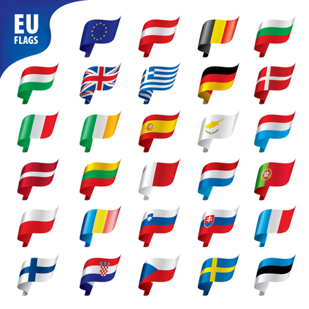 flags of the european union template vector illustration set Illustration