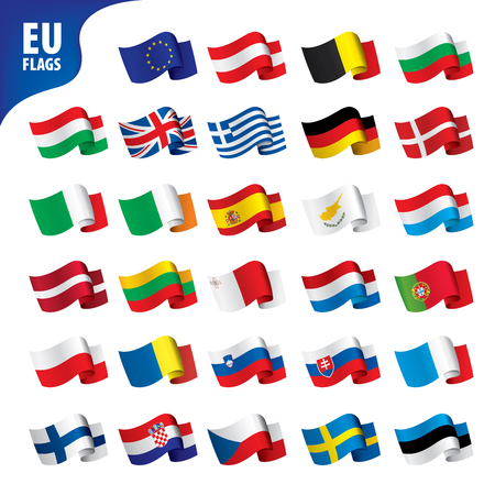 flags of the european union template vector illustration set Çizim