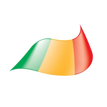 Mali flag, waving Illustration on white background. Illustration