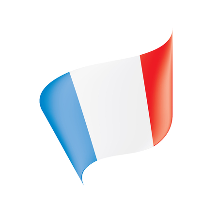 Isolated flat art of France flag on white backdrop illustration.