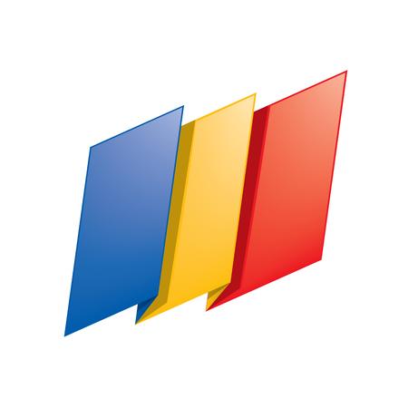 Isolated flat art of Chad flag on white backdrop illustration.