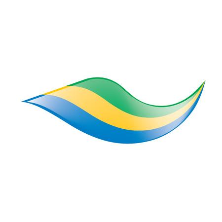 Gabon flag, waving Illustration on white background. 일러스트